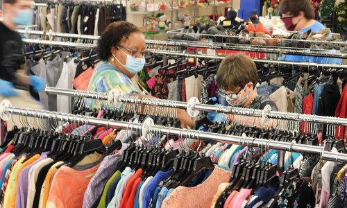 Goodwill Job Coach Carlene Beverly works with Summer Youth participant Katelyn Beckley at the Circleville Goodwill store.